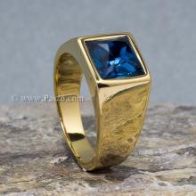แหวนพลอยสีฟ้า ลอนดอนบลูโทพาส แหวนทองชุบ แหวนผู้ชาย