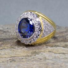 แหวนทองผู้ชาย แหวนพลอยสีน้ำเงิน ไพลิน ล้อมเพชร แหวนชุบทอง