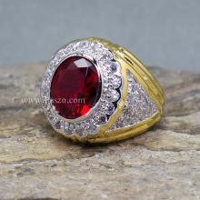 แหวนผู้ชาย พลอยสีแดง ทับทิม ล้อมเพชร แหวนชุบทอง แหวนทองผู้ชาย