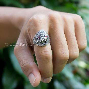 แหวนหนุมาน ฝังพลอยทับทิม รมดำ #4