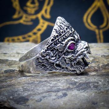 แหวนหนุมาน ฝังพลอยทับทิม รมดำ #3