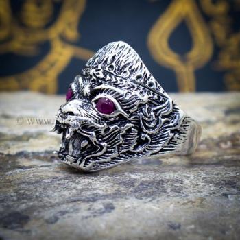 แหวนหนุมาน ฝังพลอยทับทิม รมดำ #2