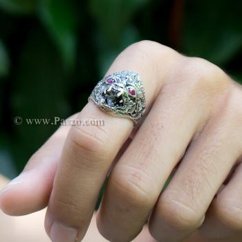 แหวนหนุมาน ฝังพลอยทับทิม รมดำ #5