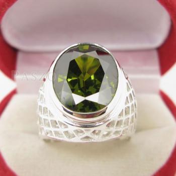 แหวนพลอยเขียวส่อง พลอยสีเขียวมะกอก แหวนพลอยผู้ชายฉลุลาย #2