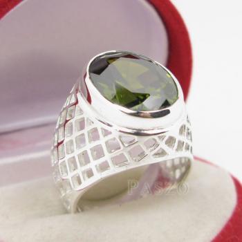 แหวนพลอยเขียวส่อง พลอยสีเขียวมะกอก แหวนพลอยผู้ชายฉลุลาย #7