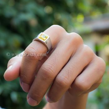 แหวนพลอยสีเหลือง บุษราคัม แหวนสแตนเลส #4