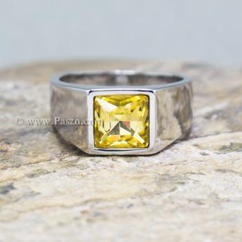 แหวนพลอยสีเหลือง บุษราคัม แหวนสแตนเลส #3