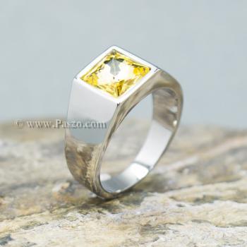 แหวนพลอยสีเหลือง บุษราคัม แหวนสแตนเลส #2
