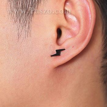 ต่างหูผู้ชาย ต่างหูรูปสายฟ้า ต่างหูสแตนเลส #6