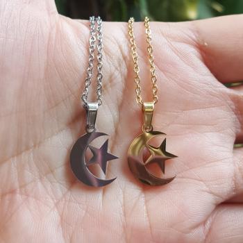 จี้พระจันทร์เสี้ยวและดาว จี้พร้อมสร้อยคอ จี้สแตนเลส #5