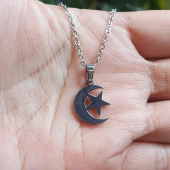 จี้พระจันทร์เสี้ยวและดาว จี้พร้อมสร้อยคอ จี้สแตนเลส #6