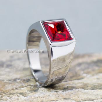 แหวนพลอยโกเมน แหวนสแตนเลส พลอยสีแดงเข้ม #2
