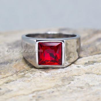 แหวนพลอยโกเมน แหวนสแตนเลส พลอยสีแดงเข้ม #5