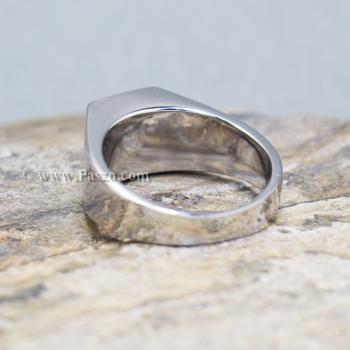 แหวนพลอยโกเมน แหวนสแตนเลส พลอยสีแดงเข้ม #4