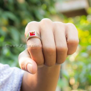 แหวนพลอยโกเมน แหวนสแตนเลส พลอยสีแดงเข้ม #3