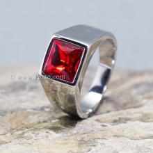 แหวนพลอยโกเมน แหวนสแตนเลส พลอยสีแดงเข้ม