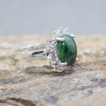 แหวนหยก แหวนเงินแท้ ล้อมเพชร #3