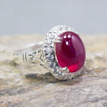 แหวนทับทิม แหวนเงินแท้ บ่าแหวนฝังเพชร #4