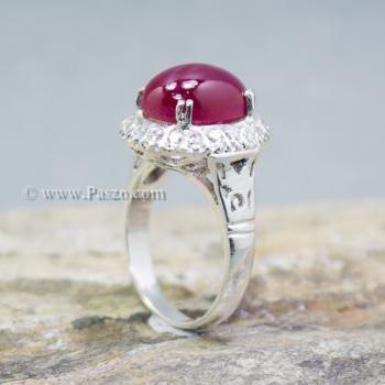 แหวนทับทิม แหวนเงินแท้ บ่าแหวนฝังเพชร #3