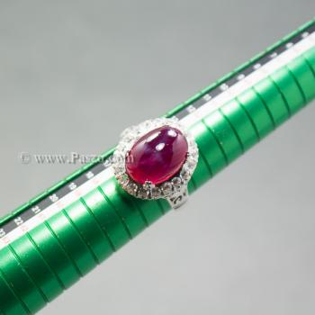 แหวนทับทิม แหวนเงินแท้ บ่าแหวนฝังเพชร #6