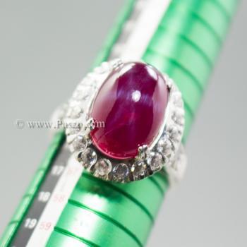 แหวนทับทิม แหวนเงินแท้ บ่าแหวนฝังเพชร #5