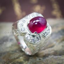 แหวนทับทิมหลังเบี้ย แหวนผู้ชาย ทับทิมหลังเบี้ยแท้ แหวนผู้ชายเงินแท้