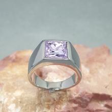 แหวนผู้ชาย พลอยสีม่วง แหวนสแตนเลส พลอยอะเมทิสต์