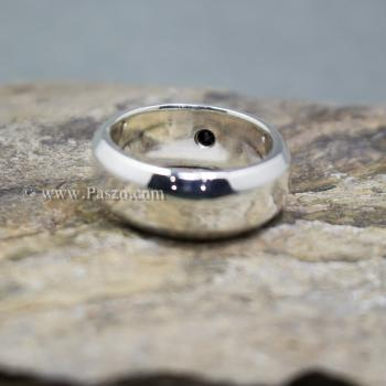 แหวนนิล แหวนตะไบขอบเฉียงฝังนิล แหวนเงินแท้ #5