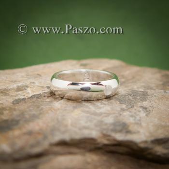 แหวนมุกดาหาร แหวนเงินหน้าโค้ง ฝังพลอยมูนสโตน #2