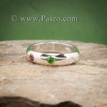 แหวนเกลี้ยงหน้าโค้ง ฝังพลอย3สี แหวนเงินแท้