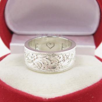 แหวนแกะลายรอบวง หน้ากว้าง8มิล แหวนเกลี้ยงหน้าเรียบ #2