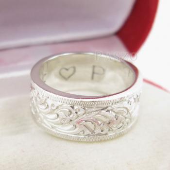 แหวนแกะลายรอบวง หน้ากว้าง8มิล แหวนเกลี้ยงหน้าเรียบ #3
