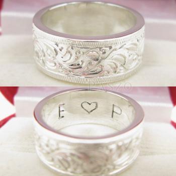 แหวนแกะลายรอบวง หน้ากว้าง8มิล แหวนเกลี้ยงหน้าเรียบ #4
