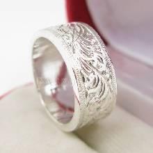 แหวนแกะลายรอบวง หน้ากว้าง8มิล แหวนเกลี้ยงหน้าเรียบ แหวนเงินแท้ แกะลายไทย