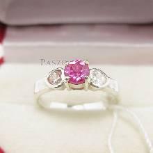 แหวนสีชมพู แหวนโทพาซ แหวนเงินแท้ 925 พลอยสีชมพู เม็ดกลม บ่าข้างรูปหัวใจ บ่าเพชร