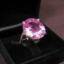 แหวนโทพาซสีชมพู เม็ดเดี่ยว เม็ดใหญ่ แหวนขาแฉก แหวนเงินแท้ 925 พลอยสีชมพู 20กะรัต