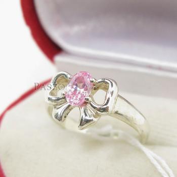 แหวนโบว์ แหวนพลอยโทพาซ สีชมพู #2