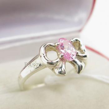 แหวนโบว์ แหวนพลอยโทพาซ สีชมพู #3