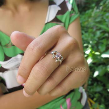 แหวนโบว์ แหวนพลอยโทพาซ สีชมพู #4