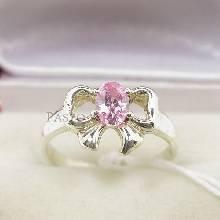 แหวนโบว์ แหวนพลอยโทพาซ สีชมพู แหวนเงิน รูปโบว์ แหวนพลอยสีชมพู