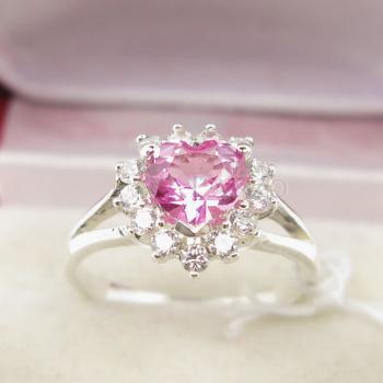 แหวนหัวใจ แหวนเงินแท้ แหวนพลอยสีชมพู #2