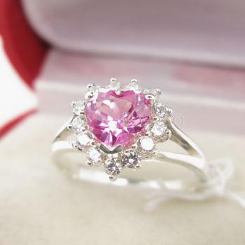 แหวนหัวใจ แหวนเงินแท้ แหวนพลอยสีชมพู #3