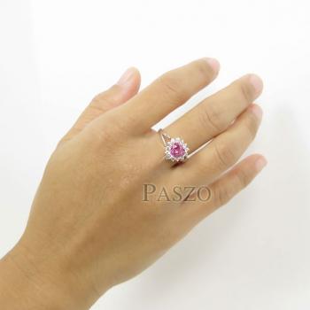 แหวนหัวใจ แหวนเงินแท้ แหวนพลอยสีชมพู #4