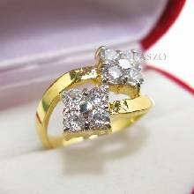 แหวนดอกไม้ แหวนเพชร แหวนดอกไม้2ดอก แหวนทองชุบ
