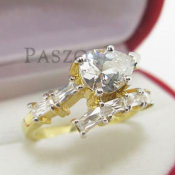 แหวนเพชรทรงหยดน้ำ แหวนทองชุบ แหวนเพชร #3