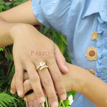 แหวนเพชรทรงหยดน้ำ แหวนทองชุบ แหวนเพชร #4