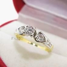 แหวนเพชร แหวนหัวชู ประดับเพชร แหวนทองชุบ