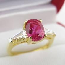 แหวนพลอยทับทิม พลอยสีแดง ประดับเพชร แหวนทองชุบ
