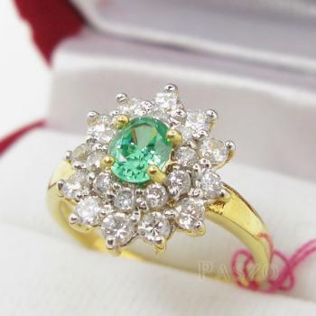 แหวนพลอยสีเขียว พลอยมรกต ล้อมเพชร #2