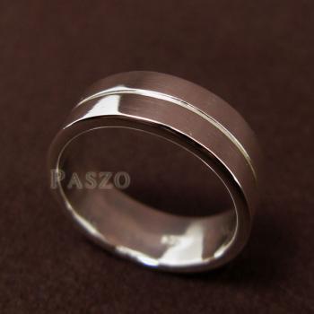 แหวนเซาะร่อง หน้ากว้าง8มิล แหวนเงินแท้ #2